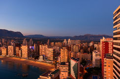 Aerial view of a Benidorm city coastline at sunset. Spain Stock Photos