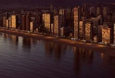 Aerial view of a Benidorm coastline. Costa Blanca, Spain Royalty Free Stock Image