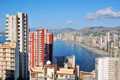 Aerial view of Benidorm, Spain Royalty Free Stock Photos