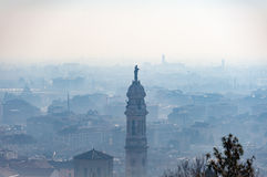 Aerial view on Bergamo town, Lombardy, Italy Royalty Free Stock Images