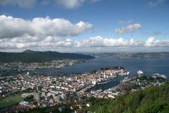 Aerial view of Bergen Bryggen, Norway Stock Photography