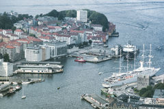 Aerial view of Bergen City, Norway royalty free stock photography