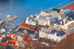 Aerial view of Bergen, Norway. Coastal cityscape royalty free stock photography