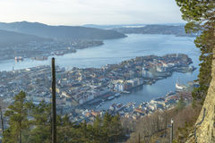 Aerial View of Bergen in a Sunny day. Royalty Free Stock Photography