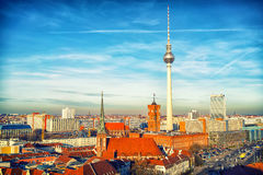 Aerial view on Berlin. Aerial view on Alexanderplatz in Berlin, Germany Stock Photography