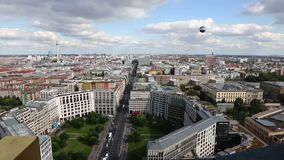 Aerial view of Berlin city center, Germany. Panoramic aerial view of Berlin city, Germany. Skyline view of Berlin downtown from skyscraper on Potsdamer Platz stock footage