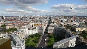 Aerial view of Berlin city center, Germany. Panoramic aerial view of Berlin city, Germany. Skyline view of Berlin downtown from skyscraper on Potsdamer Platz stock video footage