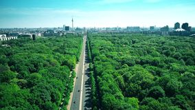 Aerial view of Berlin involving the Reichstag building, the Brandenburg Gate and the TV Tower, the most popular. Aerial shot involving main symbols of Berlin stock footage