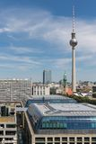 Aerial view of Berlin with modern office buildings and TV tower Royalty Free Stock Photography