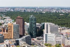 Aerial view of Berlin with Potsdamer Platz and park Tiergarten. Aerial view of Berlin with Potsdamer Platz and public park Tiergarten Royalty Free Stock Photo