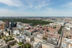 Aerial view of Berlin with Potsdamer Platz and public park Tiergarten Royalty Free Stock Photography
