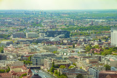 Aerial view of Berlin skyline with colorful buildings.  Stock Photos