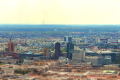 Aerial view of Berlin skyline with colorful buildings. With tilt-shift effect stock photography