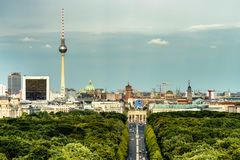 Aerial view of Berlin skyline with famous TV tower and Branderburg gate royalty free stock photo