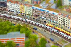 Aerial view of Berlin skyline with S-Bahn tracks rapid train and Stock Photos