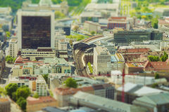 Aerial view of Berlin skyline with S-Bahn tracks rapid train and royalty free stock photos