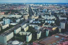 Aerial view of Berlin with skyline and scenery beyond the city, Germany, seen from the observation deck of TV tower. Sunny day Stock Images
