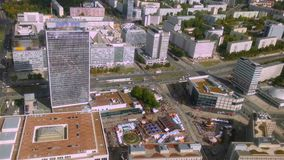 Aerial view of Berlin from TV tower, tiny people and traffic on road. Timelapse. Stock footage stock footage