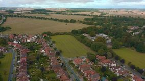 Aerial view of Beverley town and the Westwood, East Yorkshire, UK 2019. Drone shot of the famous religious building and the surrounding town in front of Beverley stock footage
