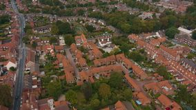 Aerial view of Beverley town and the Westwood, East Yorkshire, UK 2019. Drone shot of the famous religious building and the surrounding town in front of Beverley stock video