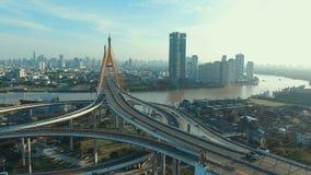 Aerial view of bhumibol bridge in bangkok thailand. Aerial view of bhumibol  bridge in bangkok thailand stock footage