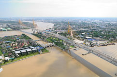 Aerial view of the Bhumibol bridge Stock Photo