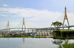 Aerial view of the Bhumibol bridge Royalty Free Stock Photography