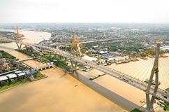 Aerial view of the Bhumibol bridge Stock Photos