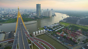 Aerial view of bhumibol bridge in bangkok thailand Royalty Free Stock Photos