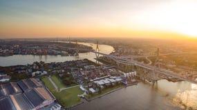 Aerial view of bhumibol 1,2 bridge important landmark of bangkok Stock Image