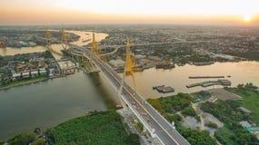 Aerial view of bhumibol 1,2 bridge important landmark of bangkok Royalty Free Stock Photo