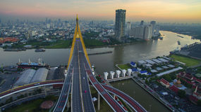 Aerial view of bhumibol bridge important landmark and traffic tr Royalty Free Stock Photos