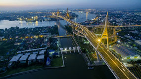 Aerial view of bhumibol bridge important landmark and traffic tr Royalty Free Stock Photography