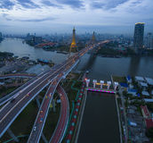 Aerial view of bhumibol bridge important landmark and traffic tr Royalty Free Stock Photo