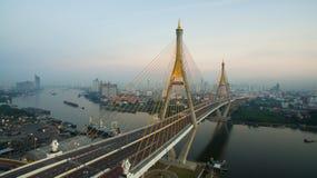 Aerial view of bhumibol 2 bridge important modern landmark over Stock Image