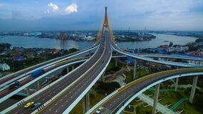 Aerial view of bhumiphol bridge crossing chaopraya river  import Royalty Free Stock Photo