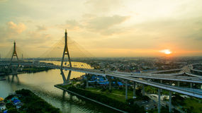 Aerial view of bhumiphol bridge crossing chaopraya river importa Royalty Free Stock Photography