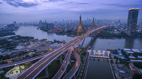 Aerial view of bhumiphol bridge crossing chaopraya river  Stock Photography