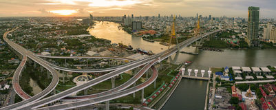 Aerial view of bhumiphol bridge crossing chaopraya river  Stock Photos