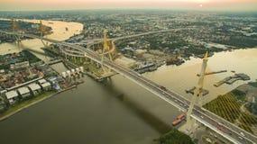 Aerial view of bhumiphol bridge important landmark and land tran Stock Image