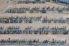 Aerial view bicycle storage in Dutch village Emmeloord. Aerial view bicycle storage in village Emmeloord, the Netherlands Royalty Free Stock Photography