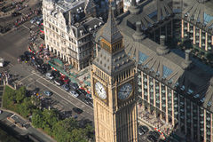 Aerial view of Big Ben. London and surrounding streets of Westminster Royalty Free Stock Images