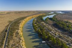 Aerial view of Murray River in South Australia royalty free stock images