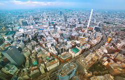 Aerial view of a big bustling city. View of a bustling Tokyo from above stock image