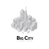 Aerial view of big city, outline design with. Shadows, isometric vector illustration Stock Image