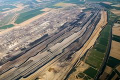 Aerial view of a big coal mine royalty free stock photos