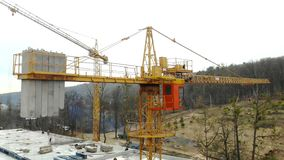 Aerial view big construction crane, close up. Construction crane on a building background, close up. stock video