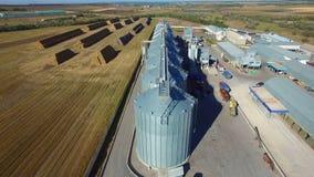 Aerial view of big grain elevators stock video footage