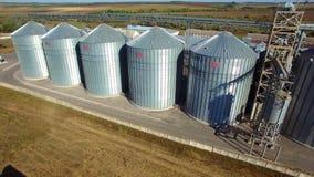 Aerial view of big grain elevators stock video