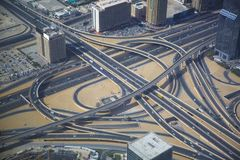 Aerial View of a Big Highway Interchange in Dubai. Aerial view of a complex highway overpass in Dubai, UAE. Modern busy city, downtown during the day. Hight Stock Photos